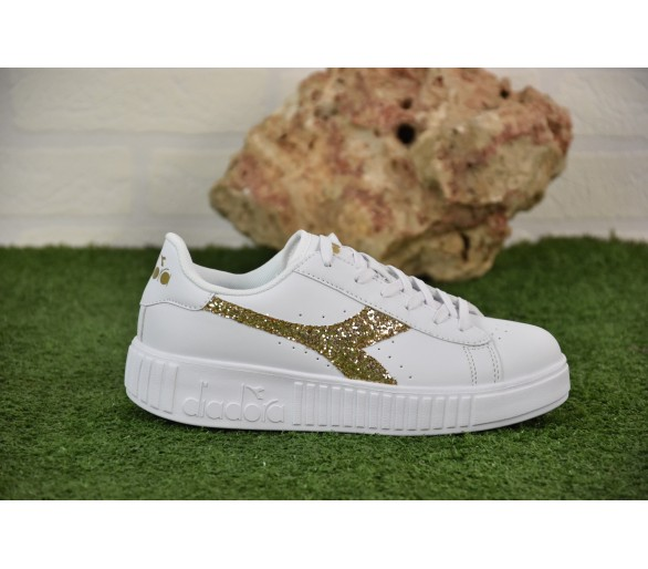DIADORA DONNA GAME STEP GS - Bianco Oro 175083 01-C5363 GLITTER